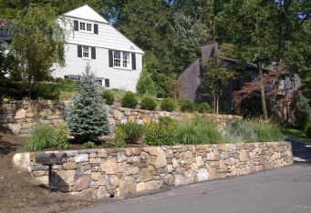 Stacked Stone Wall and Gardens create an inviting landscape at this Mountainside NJ property