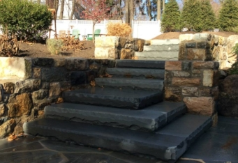 Stone Masonry Stairs lead you through this Basking Ridge NJ landscape design