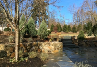 Patio and Gas Fire pit complete this landscaping design in Basking Ridge NJ