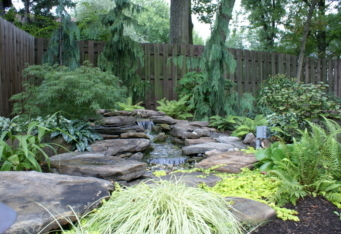 A custom landscape design with a Water Feature in Westfield NJ