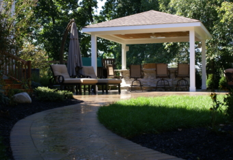 Outdoor Living complete this Backyard landscape in Basking Ridge NJ