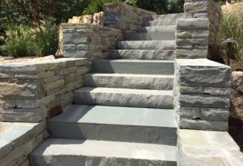 Custom Stone Steps and Landings complete a landscape design in Basking Ridge