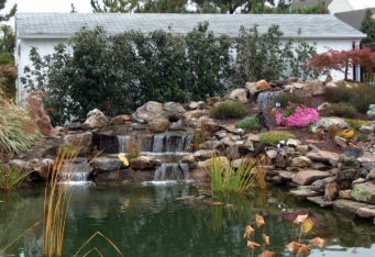 Plantings hide a garage and provide a backdrop for a waterfall and pond in this NJ landscape