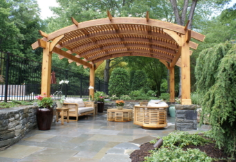 Outdoor living room completed in Westfield NJ landscape design