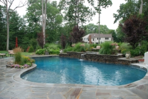 Custom Pool design completes the backyard landscape at this home