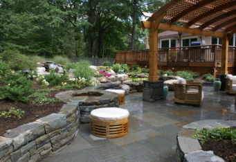 Stone Wall and Stone Fire Pit in Westfield NJ